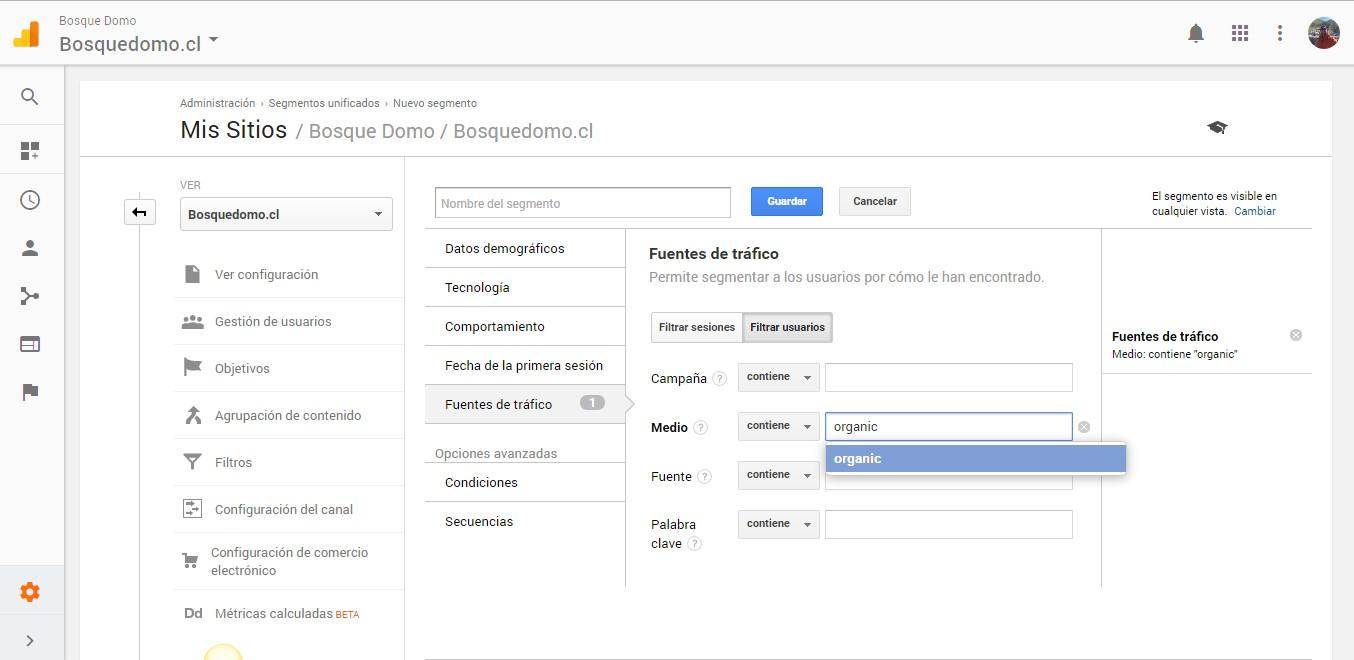 Creación de segmentación para filtrar en ab testing con Google Optimize