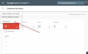 Seguimiento de cobertura en el indice para sitemap.xml
